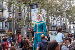Barcelona, Spain - 24 September 2016 : La Merce annual festival Giants Parade. Each year during the feast oversized figures guided by humans parade spinning stock images