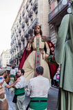Barcelona, Spain - 24 September 2016 : La Merce annual festival Giants Parade. Each year during the feast oversized figures guided by humans parade spinning stock image