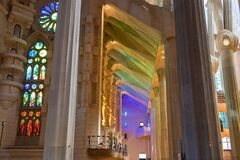Barcelona, Spain - September 19, 2021:Lights coming through the stained glass windows inside