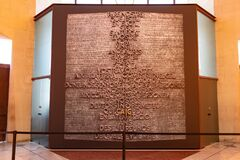 Barcelona, Spain - September 19, 2021:Our Father prayer carved in wood inside