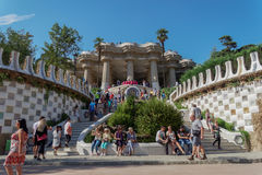 Barcelona, Spain - 24 September 2016: Park Guell stairway to the Hypostyle Room. Royalty Free Stock Image