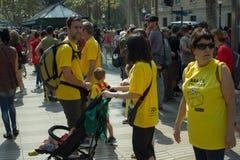 BARCELONA, SPAIN - SEPTEMBER 11, 2014: People manifestating inde Stock Photos
