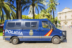 BARCELONA, SPAIN-17 September 2015: the police car, at Rambl Boulevard in the tourist place of Barcelona stock photography