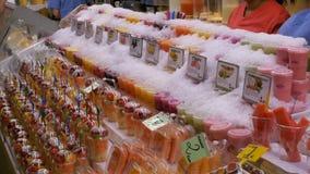 Showcase with Fruits at a Market in La Boqueria. Barcelona. Spain. BARCELONA, SPAIN, SEPTEMBER 22, 2017: Showcase with Fruits at a Market in La Boqueria stock video