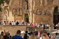 BARCELONA, SPAIN - September 25th, 2018: Tourists standing in line to enter Sagrada Familia church, Antonio Gaudi`s architectural. BARCELONA, SPAIN - September stock image
