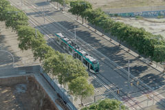 Barcelona, Spain - 25 September 2016: Tram Transport in Barcelon. Tram line T4, part of Trambesos network, in the Forum area royalty free stock photography