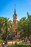 Gaudi house museum. Barcelona, Spain - September 24, 2015: View of Gaudi house museum at Park Guell in Barcelona at Park Guell in Barcelona. Unidentified people Royalty Free Stock Image