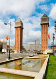View of the Venetian Tower on Espanya square in Barcelona on Sep Stock Image