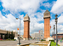 View of the Venetian Tower on Espanya square in Barcelona on Sep Stock Photos
