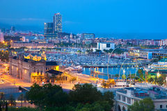 Barcelona, Spain skyline at night. Horbor view Stock Photo