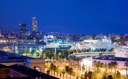 Barcelona, Spain skyline at night. Horbor view stock photography