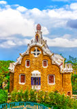 In Barcelona in Spain. Strange houses located at the famous park Guell at Barcelona in Spain. HDR processed Stock Photo