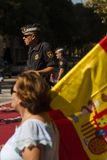 Barcelona, Spain, 8th August 2017: Supporters for unity with Spain wa. Ving flags of Spain. supporters for unity was protected by spanish police national Stock Photo