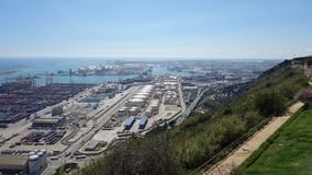 Barcelona-Spain. 28th March 2017 - Port Vell view, industrial ca royalty free stock photo