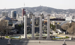 Barcelona, Spain (view from Montjuich mountain). Panoramic view of Placa De Espanya and fountain from Montjuic hill on March 10, 2014 Stock Photo