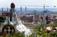 Barcelona, Spain, view at the town from park Quell. View at the town of Barcelona, Spain from Park Quell Stock Photos