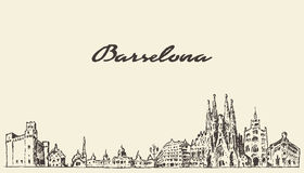 Barcelona Spain vintage hand drawn sketch. Barcelona landscape Spain vintage engraved illustration hand drawn sketch Stock Images