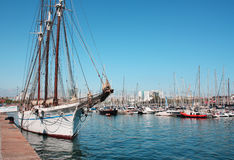 Barcelona, Spain.Yachts at Port Vell, May 11, 2013. Port Vell - one of three ports of Barcelona Stock Image