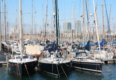 Barcelona, Spain.Yachts at Port Vell, May 11, 2013. Port Vell - one of three ports of Barcelona Royalty Free Stock Photos