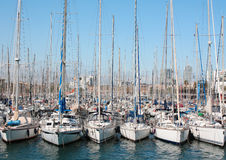 Barcelona, Spain.Yachts at Port Vell, May 11, 2013. Port Vell - one of three ports of Barcelona Royalty Free Stock Photography