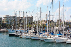 Barcelona, Spain.Yachts at Port Vell, May 11, 2013. Port Vell - one of three ports of Barcelona Stock Photo