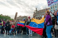 Barcelona, Spanien - 30. April 2019: junger venezolanischer womane Schrei herein stockfoto