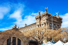 Barcelona Spanien - April 17, 2016: Maritimt havsmuseum av Barcelona arkivfoto