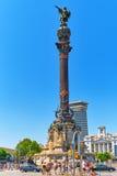 BARCELONA SPANIEN - AUGUSTI 28: Monument av Columbus, Barcelona Royaltyfria Bilder