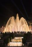 Barcelona Spanien: den magiska springbrunnen Arkivfoton