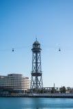 BARCELONA, SPANIEN - 12. FEBRUAR 2014: Barcelona-Seilbahnstation am Hafen Lizenzfreies Stockbild