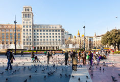 Barcelona Catalonia kvadrerar Royaltyfria Foton