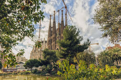 BARCELONA SPANIEN - Januari 12: La Sagrada Familia på Januari 12, Royaltyfri Foto