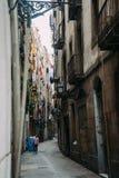 BARCELONA SPANIEN - JUNI 30 Den huvudsakliga gatan via Laietana är namnet av en viktig allmän landsväg i Barcelona på Juni 30 Royaltyfri Bild