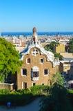 BARCELONA SPANIEN - JUNI 22: Parkera Guell i Barcelona, Spanien på Juni 22, 2016 Royaltyfria Foton
