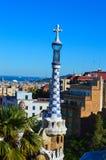 BARCELONA SPANIEN - JUNI 22: Parkera Guell i Barcelona, Spanien på Juni 22, 2016 Royaltyfri Foto