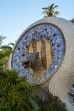 BARCELONA SPANIEN - JUNI 22: Parkera Guell i Barcelona, Spanien på Juni 22, 2016 Arkivbilder