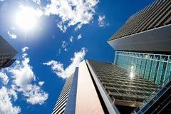 BARCELONA, SPANIEN, am 15. Mai 2016 - Wolkenkratzergebäude in Poblenou-Geschäftsgebiet Stockfoto