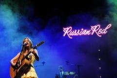 Det ryska röda musikbandet utför på l'Auditorien Arkivfoton