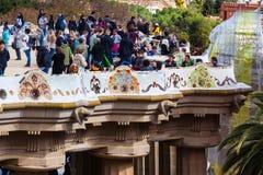 Parkera Guell i Barcelona Royaltyfri Foto