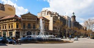 Beskåda av Barcelona. Passeig de Gracia Arkivbild