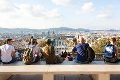 BARCELONA SPANIEN - OKTOBER 17, 2017 - bästa sikt av Barcelona, Mont Arkivfoton