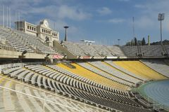 Barcelona Spanien - Oktober 14, 2017 OS- och sportstadion, var invigningen av OS:en av 1982 Royaltyfria Bilder