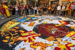 Barcelona Spanien 08 Oktober, protest mot självständigheten av Catalonia Arkivfoto