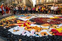Barcelona Spanien 08 Oktober, protest mot självständigheten av Catalonia Royaltyfri Bild