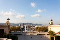 BARCELONA SPANIEN - OKTOBER 17, 2017 - sikt av Barcelona Royaltyfri Foto