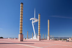 Barcelona Spanien, Olympic Stadium i Barcelona namngav Lewis Companys Royaltyfri Bild