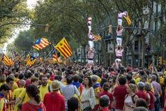 BARCELONA SPANIEN - SEPT 11: Manifasteting ingependencenolla för folk Fotografering för Bildbyråer