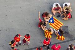 BARCELONA SPANIEN - SEPT 11: Visande ingependence för folk på Arkivbild
