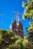 BARCELONA SPANIEN - September 10, 2017: La Sagrada Familia - Catho Arkivbild