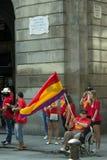 BARCELONA SPANIEN - SEPTEMBER 11, 2014: Manifestating inde för folk Arkivfoto